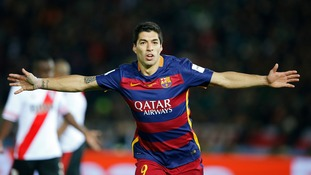 Luis Suarez celebrates his second goal in Barcelona's convincing 3-0 win over River Plate in the Club World Cup final in Yokohama