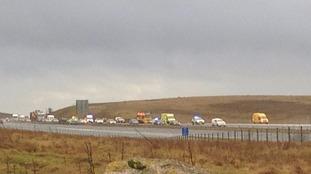 Multiple vehicle crash on M6