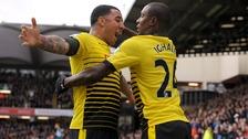 Watford goalscorer Odion Ighalo celebrates with strike partner Troy Deeney