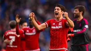 Middlesbrough's George Friend celebrates the team's win.