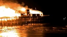 Hastings Pier on fire, October 2010