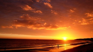 Sunrise over Whitley Bay beach in Tyne and Wear