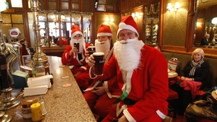 Santas in the pub
