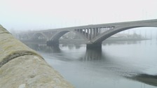 Berwick's Royal Tweed Bridge in the mist