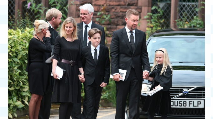 Cilla Black son's Ben and Robert, with their familes, leave St Mary's Church in Woolton
