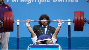Great Britain's Ali Jawad, competes during the Mens 56kg Group A powerlifting