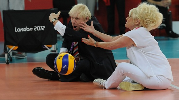 Mayor of London Boris Johnson and actress Barbara Windsor have a game of sitting volleyball after the women's event at the Excel Arena