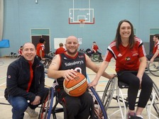 Cllr Nigel Ayre (left), Lee Fawcett (centre) and Emma Sheldon (right) at the Wheelchair Basketball Legacy Games.