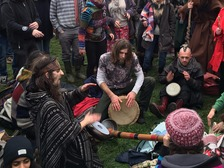 People played drums and musical instruments to see in the Winter Solstice