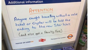 Fare-dodgers will be given Star Wars spoilers