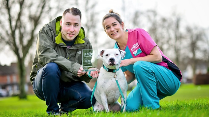Ziggy with his new owner Dominic O'Hare and PDSA vet Vicki Larkham-Jones.