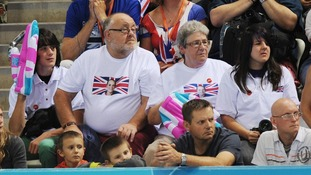 Friends and family of Great Britan's Ellie Simmonds watch her in the 400m Freestyle S6 Heat