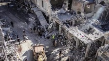 Damage to Ariha market area after a suspected Russian airstrike