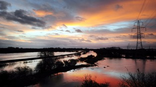 Floodwater covers fields around York as the River Ouse continues to rise after torrential rain earlier this year.