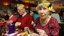 Kind-hearted Betty Williams at last year's Christmas dinner