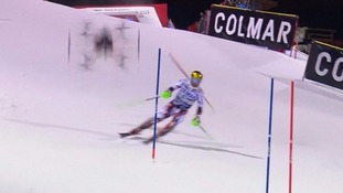 Ski champion's near miss as drone camera falls from sky