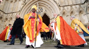 The Archbishop of York Dr John Sentamu leaves York Minster following the Christmas day Service