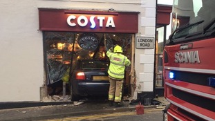 A picture shows a car crashed into the front of Costa in Westerham, Kent.
