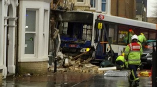 The bus smashed into a building