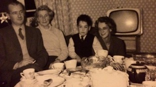 (L-R): His father, his mother, a young Alastair Stewart and his grandmother