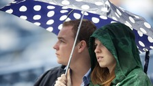 Two people under an umbrella