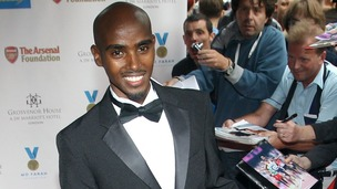 Olympic Double Gold Medal winner Mo Farah arrives at the Mo Farah Foundation fundraising ball.
