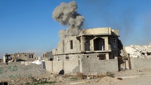 Smoke rises up from an airstrike on Ramadi city yesterday
