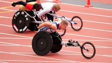 David Weir competes in the 1500m men's T54 final