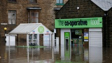 Water levels were so high in Hebden Bridge they reached a cash machine at this Co-op