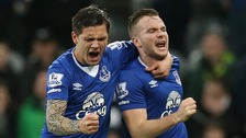 Tom Cleverley celebrates scoring Everton's last-gasp winner against Newcastle.