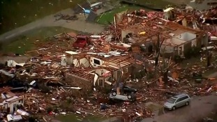 Aerial footage shows tornado devastation in Texas