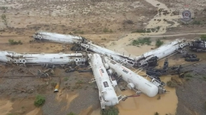 The freight train derailed in north-west Queensland, Australia.