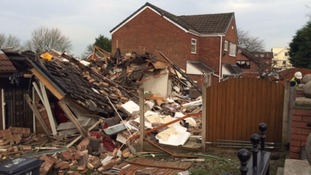 The house was reduced to rubble