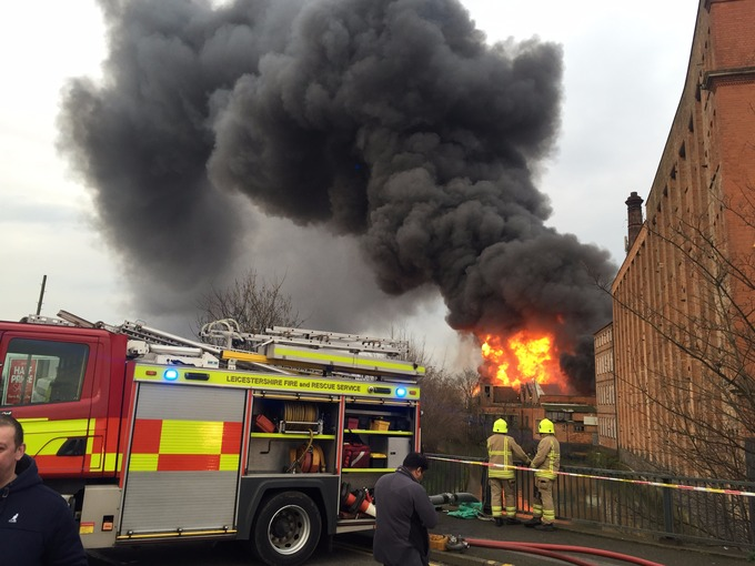 Latest pictures from scene of Leicester factory fire
