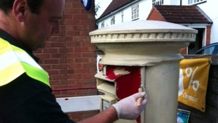Postbox in Lowdham near Nottingham has been painted gold, celebrating Richard Whitehead's medal