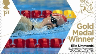 Stamp celebrating Ellie Simmonds' gold medal