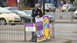 Harjinder Singh - the 'waving man' - on the campaign trail earlier this year