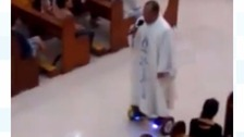 The priest rode a 'hoverboard' in the nave of the church