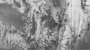 Satellite image of the British Isles taken at 4pm on Wednesday 30 December 2015.