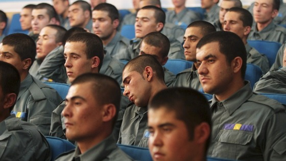 Afghan police officers during a graduation ceremony at the interior ministry in Kabul.