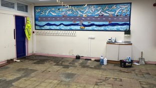 A flooded classroom at Mytholmroyd's Burnley Road Academy