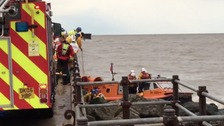 Dramatic moment rescue teams become trapped