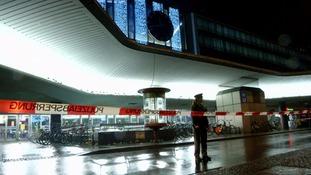 A police cordon outside a railway station in Munich.
