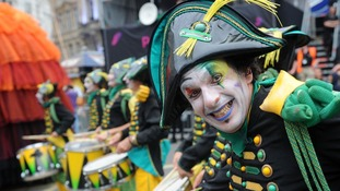 Drummer from Transe Express performs as entertainers took part in the Piccadilly Circus Circus.