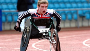 Mickey Bushell in action in the men's 200m class 51-53