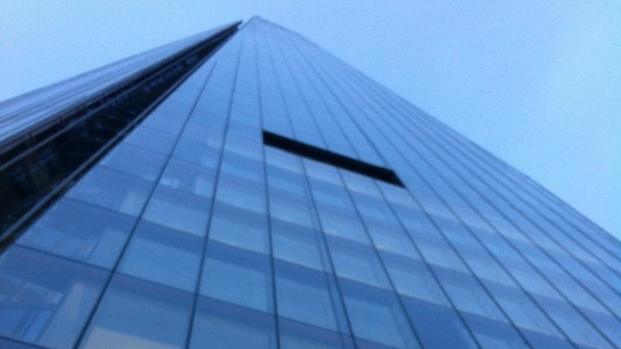 The view from the bottom of The Shard in London where today&#x27;s charity abseil is taking place.