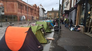 The 'Tent City' was set up in Station Street on Christmas Eve to highlight the problem of homelessness.