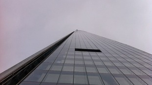 Prince Andrew pictured (at the top of the building) from the bottom of The Shard.