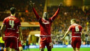 Albert Adomah celebrates after scoring his side's first goal.