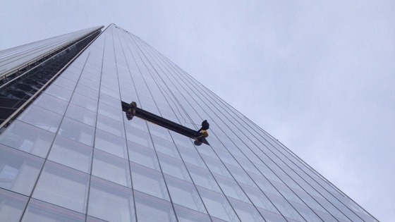 Prince Andrew makes his way down The Shard.